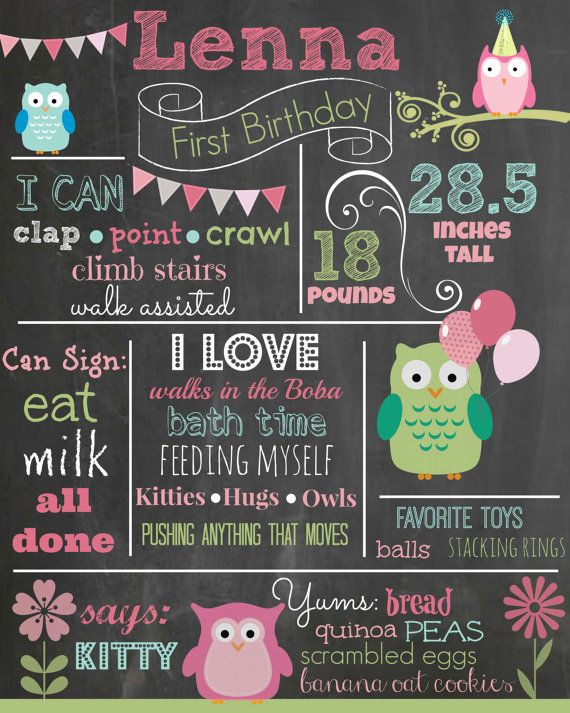 Custom First Birthday Colored Chalkboard Poster/ by MJNDoodles