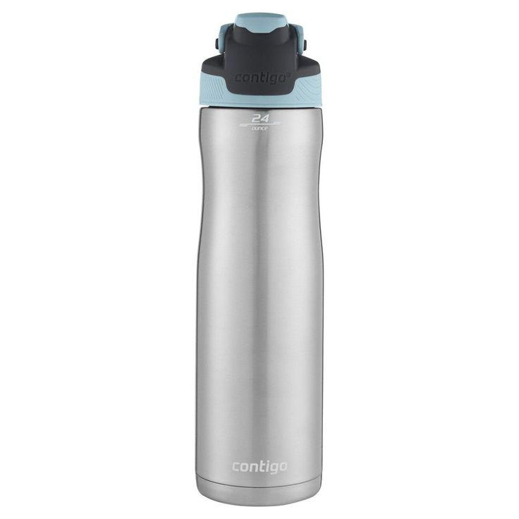 Contigo AutoSeal Chill Bottle 24oz Stainless Steel - Iced Aqua, Silver/Iced Aqua