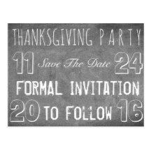 #Thanksgiving Party #SaveTheDate Chalkboard Postcard #BlackWhite