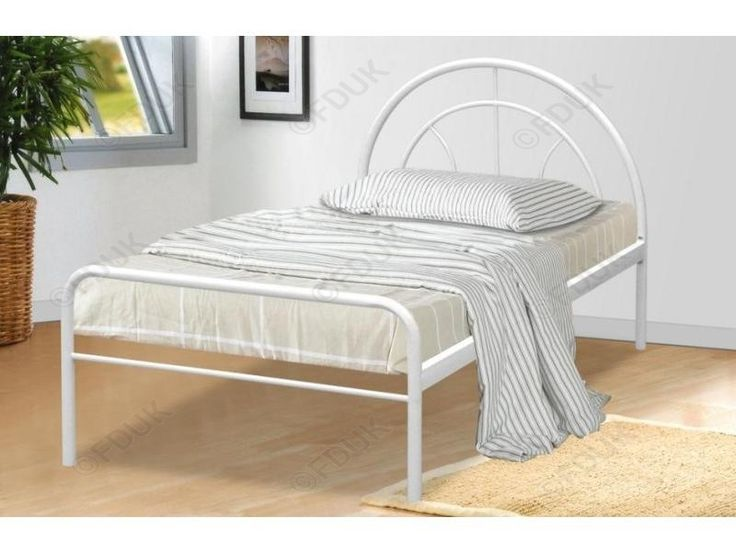 Miami White Finish Single #Metal #Bed #Frame... The Miami Single White Metal Bed is an affordable, #stylish sleeping solution for children and grown-ups alike, ideal for the kids' #bedroom or spare bedroom. #Decor #InteriorDesign #HomeImprovement #bedframes #sale #Spring2016 #furniture #HomeFurniture
