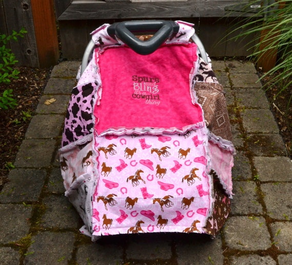Pink Cowgirl Infant Rag Quilt Car Seat Canopy Blanket