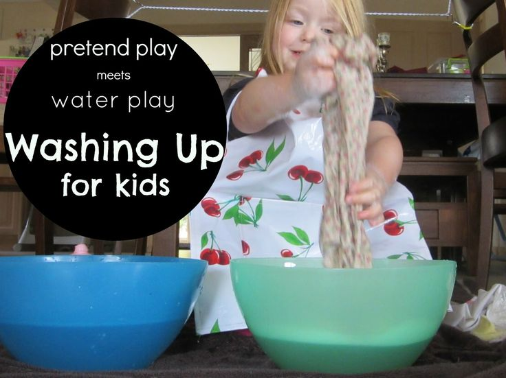 Learn with Play at Home: Pretend Play meets Water Play. Washing up for kids!
