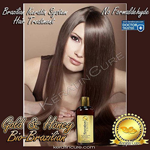 Keratin Cure 0% Formaldehyde Brazilian Hair treatment Gold and Honey Bio-Brazilian Repair-Straightener Professional 120ml 4 fl oz Safe for Kids ** Read more  at the image link.
