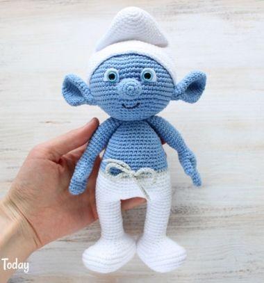 DIY Crochet (amigurumi) smurf - free amigurumi pattern // Horgolt hupikék törpike (amigurumi törp) - ingyenes horgolásminta // Mindy - craft tutorial collection