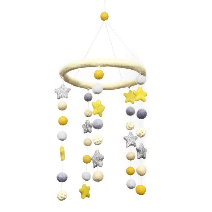 DIY Yellow Felt Ball Mobile Kit - 38 piece kit! Everything you need for a great nursery mobile!