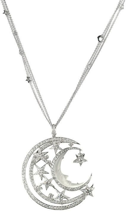 Stephen Webster Couture Midnight Over the Caspian Sea NECKLACE - silver - moon and stars pendant - jewelry - fashion accessories: