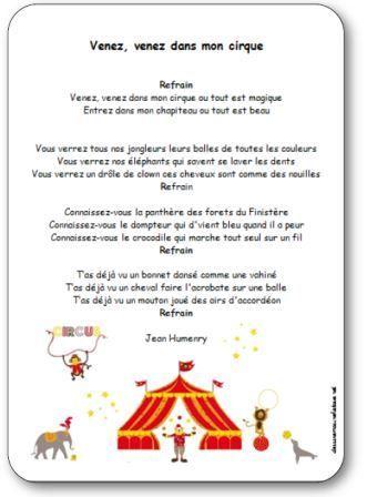 Comptine Venez venez dans mon cirque