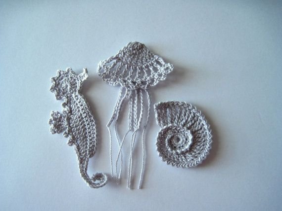 Crochet Sea Motifs Applique in Silver Grey - Seahorse, Jellyfish and Sea Shell