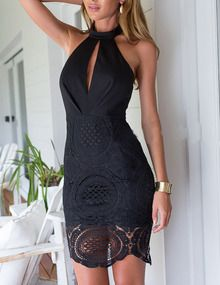 Black Halter With Lace Backless Dress US$19.99