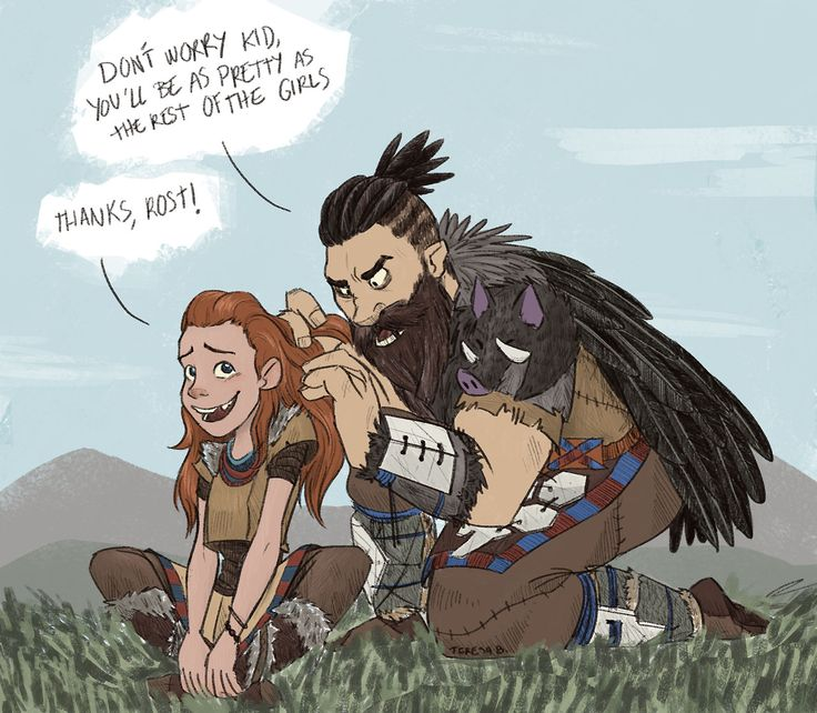 An old drawing of something @geekremix and @geekremixalot said in their let's play of Horizon Zero Dawn a long time ago.