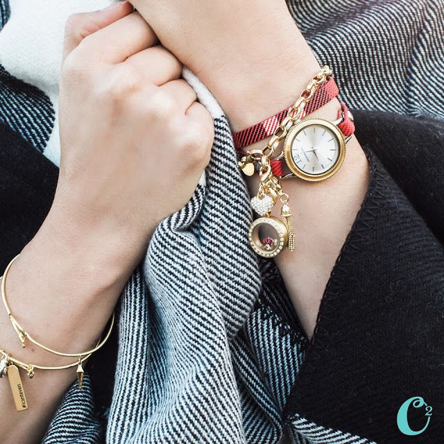 Origami Owl Bracelets and Signature Watch on Plaid Leather Wrap Bracelet available at StoriedCharms.origamiowl.com