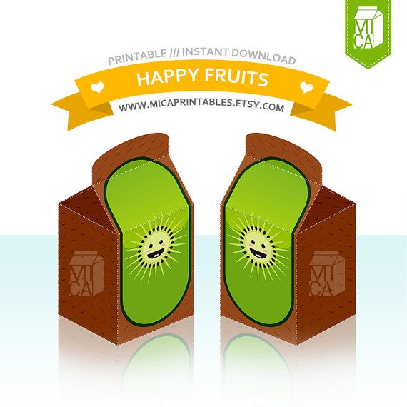 Happy Fruits Printable Party Favor Treat Gift by MicaPrintables #kiwi #fruits #green