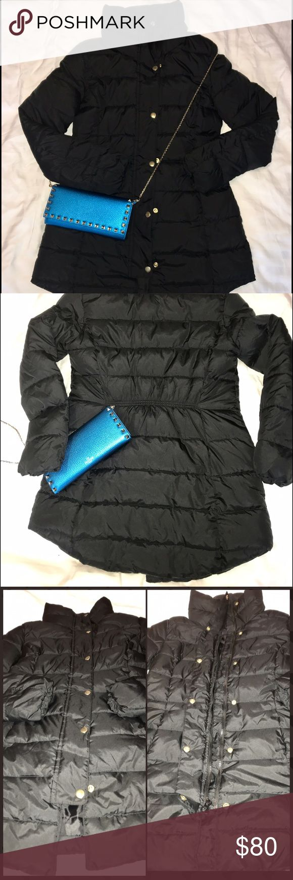 SALE Preowned Gap Down Long Puffer Jacket XS Black This is Preowned long jacket from Gap Xs. Used this about 5 times , it was a xmas gift 🎁 last year. In great condition, no holes or rip. I sew the end of the Jacket to looks shorter but it doesn't looks right so I took it off. But other than that it is in great condition. 29 inches from shoulder to end. 15 Shoulder , armpit 18 inches.. pls see additional photo in another listing. Valentino wallet  on chain not included. GAP Jackets & Coats…