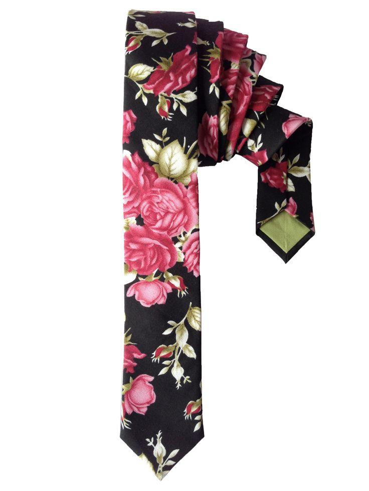 Floral Rose Print Skinny Tie