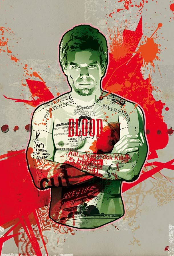 Artist: RedApe ~ Dexter! ~ The beautiful paintings of French artist, Frank Deniel, aka RedApe, which diverts the icons of pop culture like Dexter - adds imagination, tattoos & multiple inspirations ~