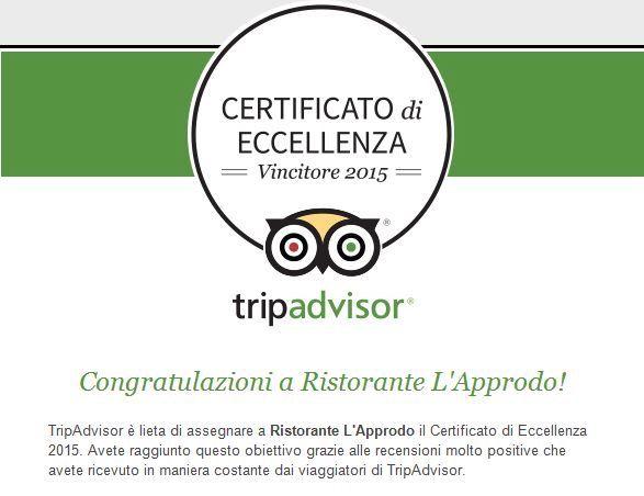 Certificato di Eccellenza - TripAdvisor 2015