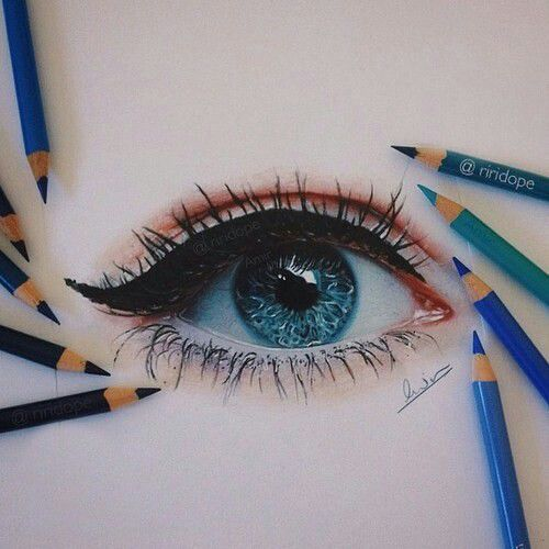 art, blue, drawing, eye, eyeliner
