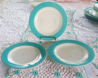 Three vintage Pyrex Blue 8 inch lunch/salad plates. Aqua ,or light turquoise, band on milk glass Midcentury dinnerware.   .