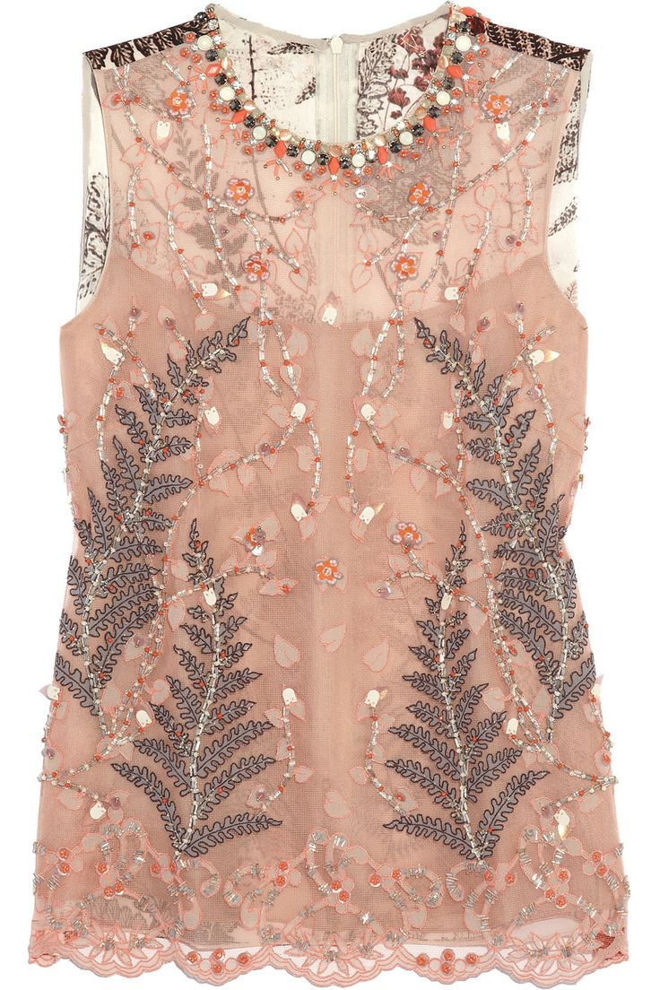 Soraya embellished mesh and silk-satin top | NET-A-PORTER.COM