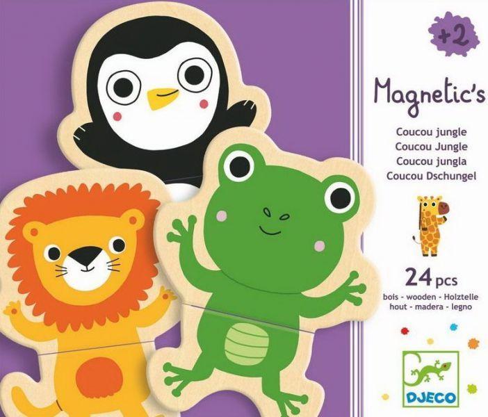 Drewniana układanka magnetyczna zwierzęta dżungla - Djeco DJ03118 - Tuliluli.pl