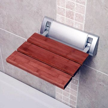 Bathroom Solid Wood Folding Shower Seat Wall Chair Spacing Saving Wall Mounted Seat Relaxation