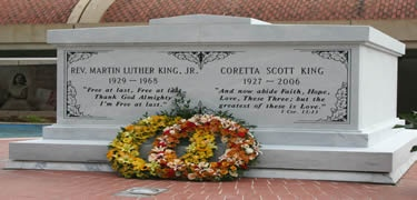 At the Martin Luther King Jr. National Historic Site, explore his birth home, historic Ebenezer Baptist Church, and The King Center, where Dr. King's Nobel Peace Prize is displayed. The crypt and gravesite of Dr. King and his wife, Coretta Scott King, are also located here.