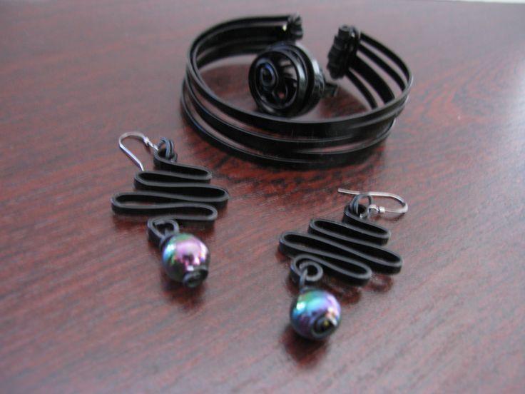 black flat wire aluminium bracelet, ring and earrings