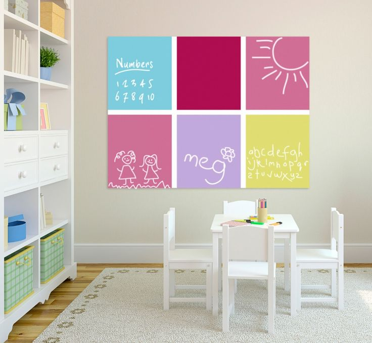 Chart Noticeboard in City Grid design - in the Marshmallow palette - great for kids rooms