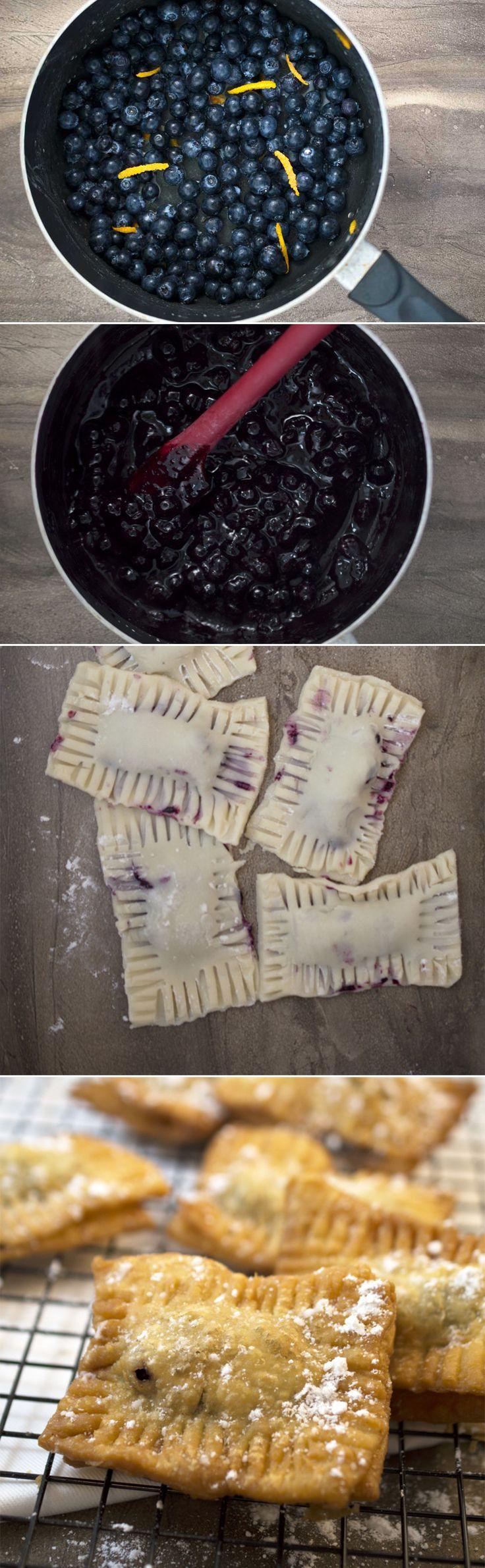 Homemade blueberry pie pockets by chefsavvy.com. Made with a fresh homemade blueberry sauce. #recipe #dessert #blueberry