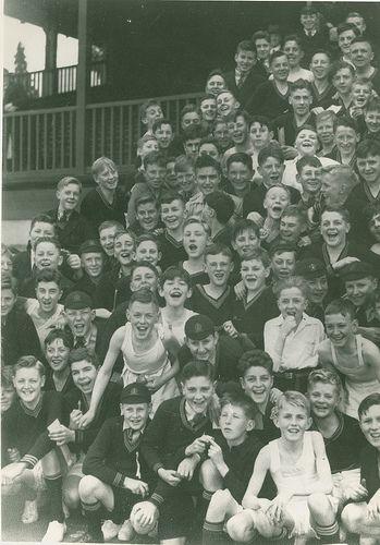 Junior Technical School Athletes Group 1938. 1930s school children. Geelong, Australia.