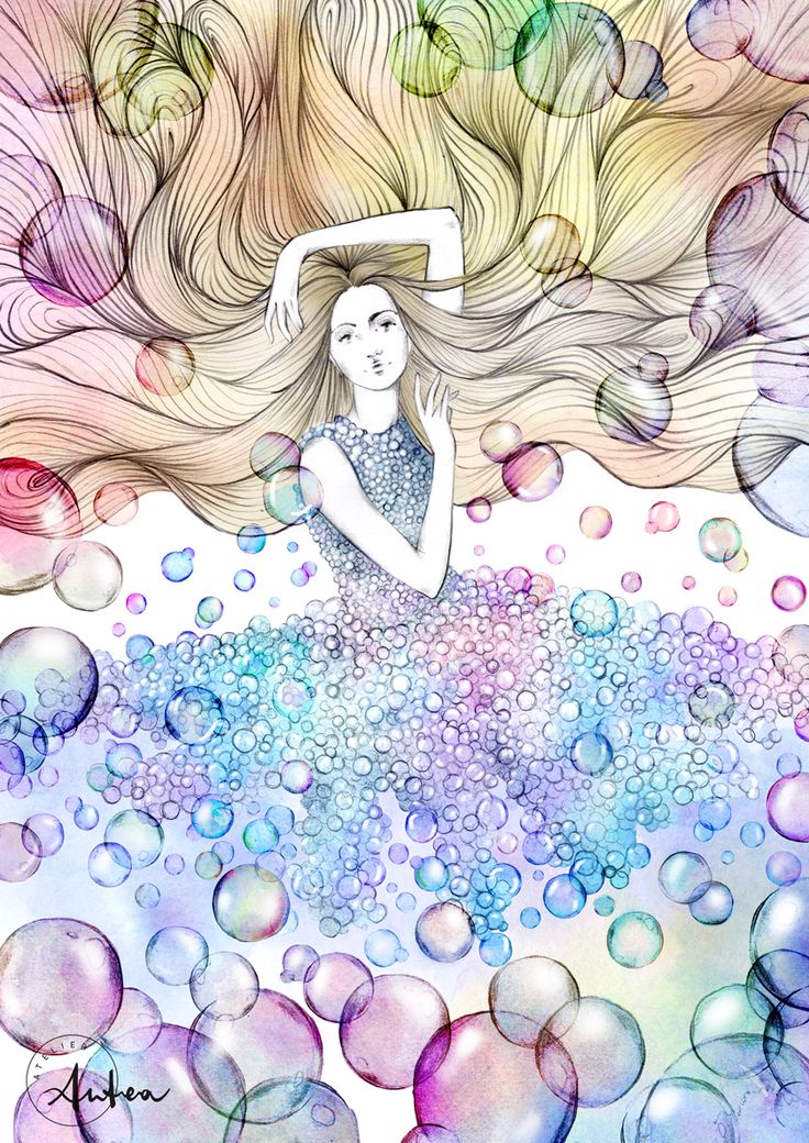 Floating bubbles illustration by Camilla Locatelli