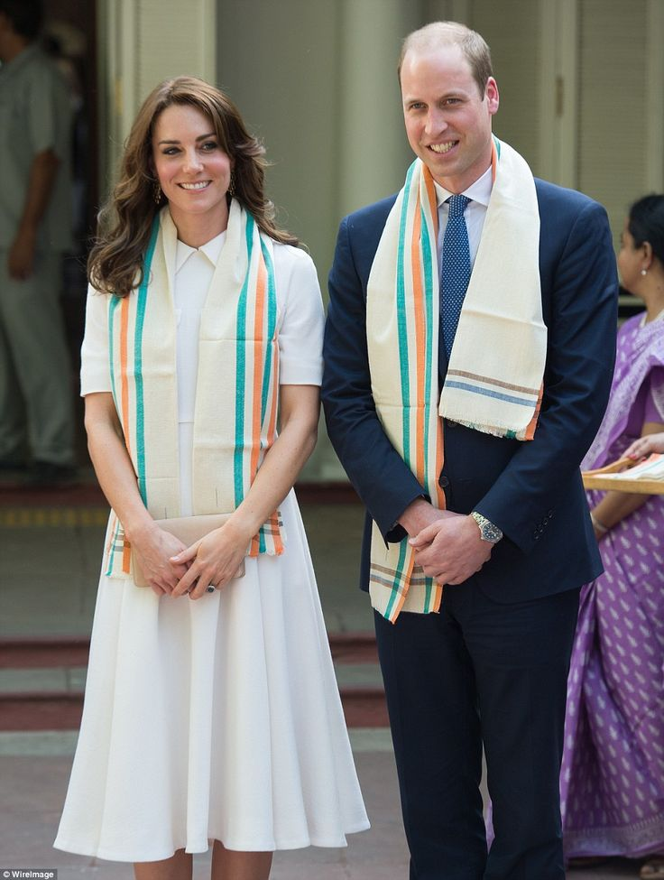 The royal couple were presented with traditional scarves during their visit...