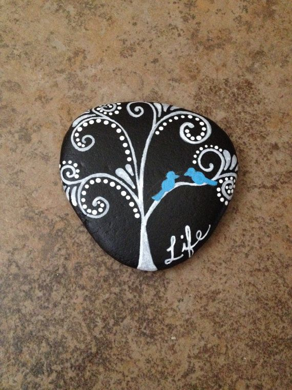 bluebird hand painted river stone lucky rock by emandgrace on Etsy