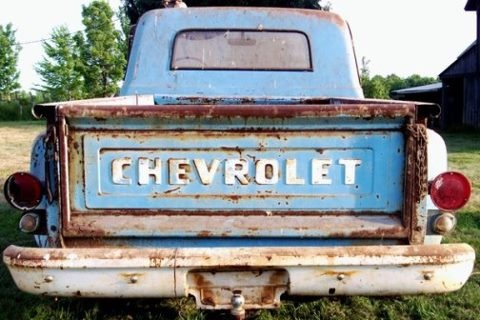 just an old blue Chevrolet truck