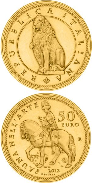 N♡T.50 euro: Flora in the Art: The Renaissance.Country:	Italy  Mintage year:	2013 Issue date:	05.06.2013 Face value:	50 euro Diameter:	28.00 mm Weight:	16.12 g Alloy:	Gold Quality:	Proof Mintage:	1,500 pc proof