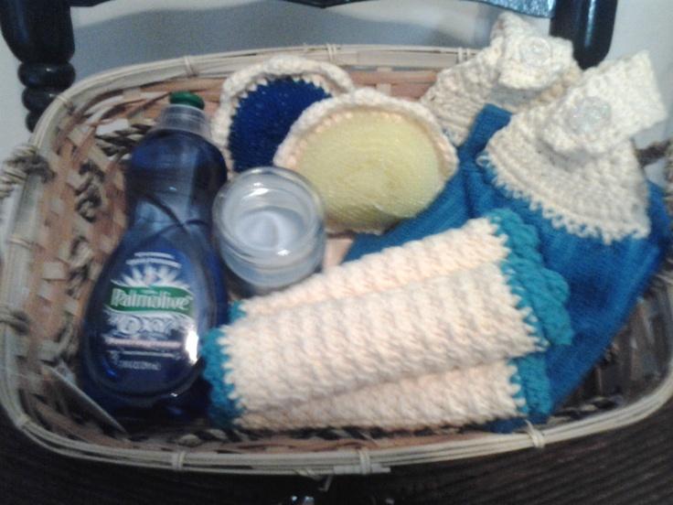 crocheted kitchen gift basket 3500 via etsy - Kitchen Gift Basket Ideas