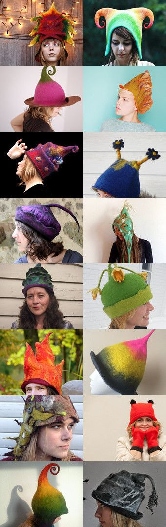 crazy felt hats :D by Ewa Halama-Jaszewska on Etsy--Pinned with TreasuryPin.com