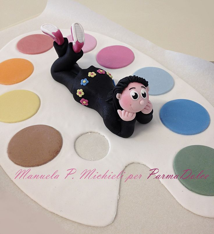 Fondant painter decorations for a Birthday cake - Made in ParmaDolce by Manuela P. Michieli
