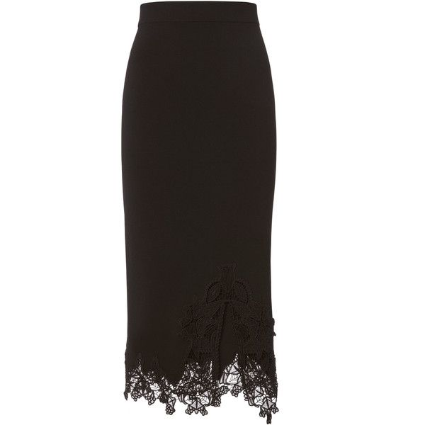 Lace Appliqué Knit Pencil Skirt ❤ liked on Polyvore featuring skirts, knit skirt, knit pencil skirt, lace pencil skirt, pencil skirt and applique skirt