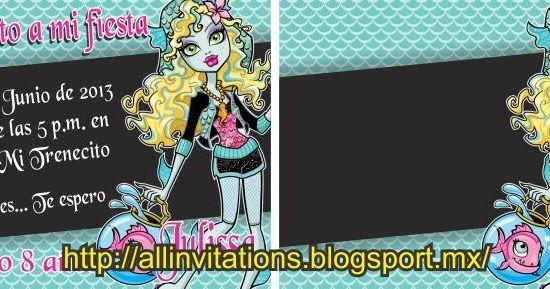Bonita invitacion de cumpleaños de Lagoona Blue de Monster High tema muy popular del momento