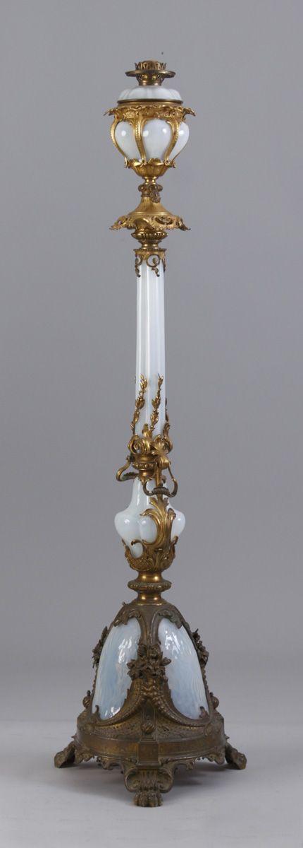 Gilt Brass & Opalescent Adjustable Floor Lamp | Cottone Auctions