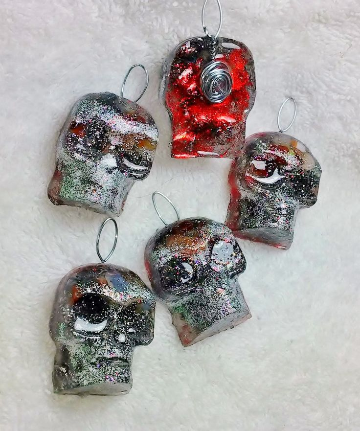 Carnelian Orgonite Skull Medallions with Steel Filings by KomacOrgonite on Etsy