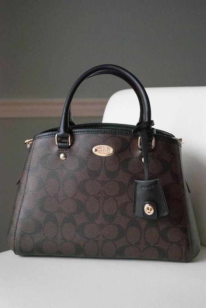 New Coach Signature Margot Mini Carryall Satchel Shoulder Bag Purse Brown F34605 Handbags Purses Bags