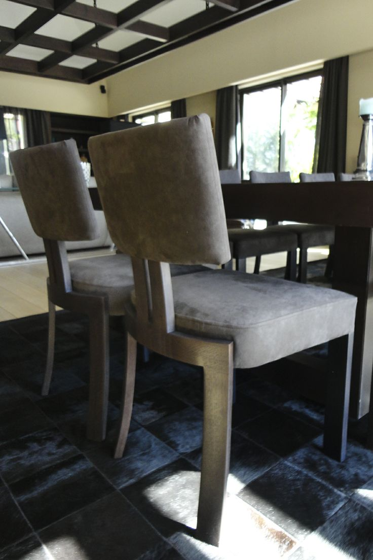 Bespoke chairs by Limitless Creations. Alcantara fabric from JAB ANSTOETZ.