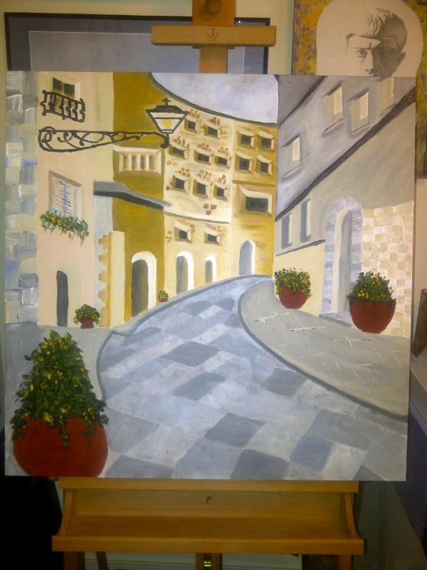 Memories of Florence, 30x30 inches, acrylic paint on stretched gallery canvas