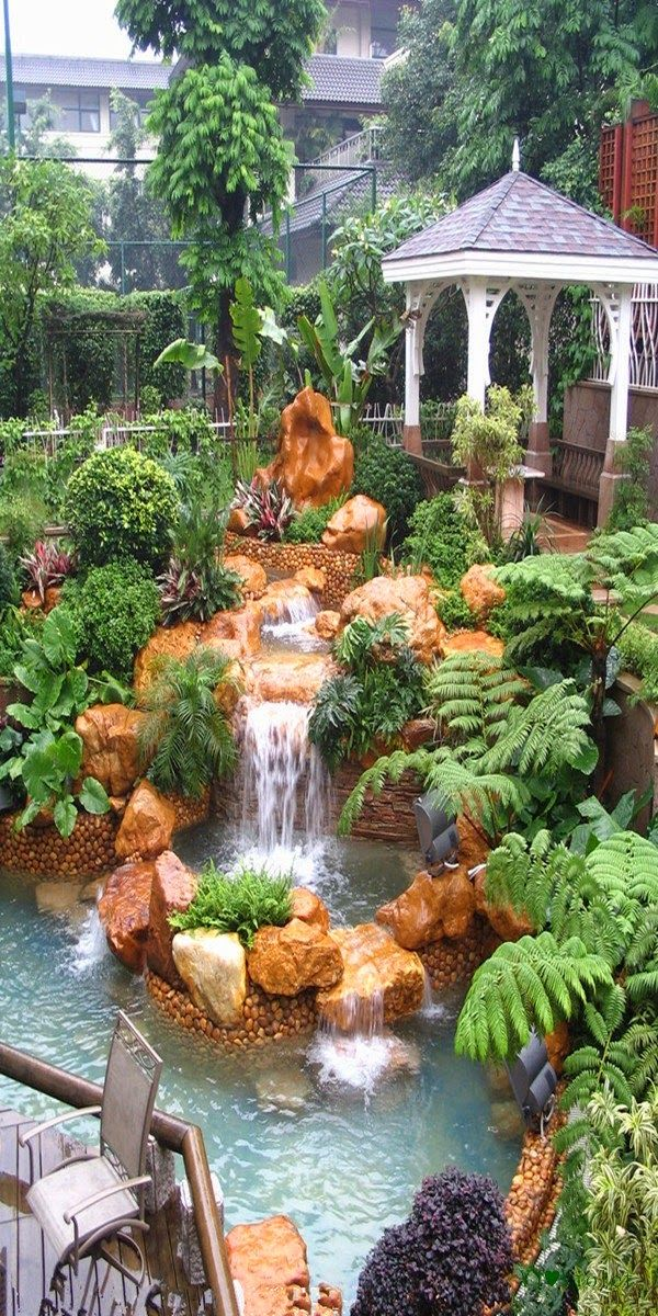 stunning garden waterfall | 234 best images about Ponds and Rock gardens on Pinterest ...