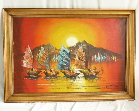 33 best paintings orange mid century images on Pinterest