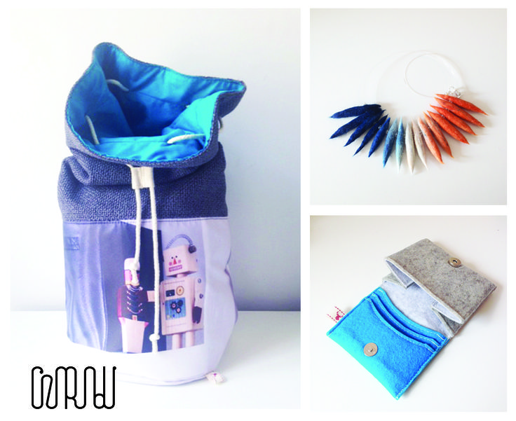 Blue pack for wear together by Cziribu: 3in1 back, felted necklace, and felt wallet