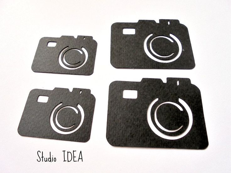 "Black Photo Camera Cut outs, Embellishments- 1.5"" & 2"" Foto Camera…"