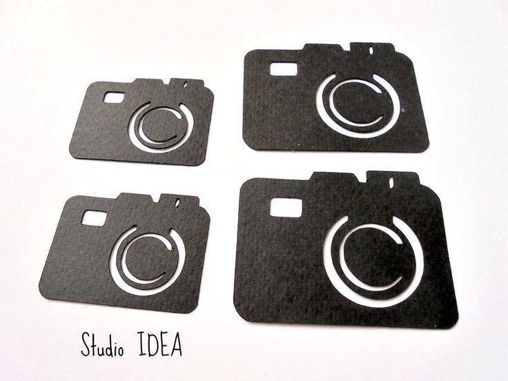 "Black Photo Camera Cut outs, Embellishments- 1.5"" & 2"" Foto Camera…"
